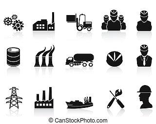 przemysł, komplet, czarnoskóry, ikony