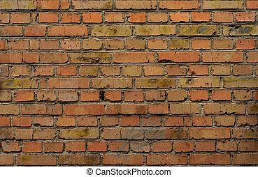 przemysłowy, ściana, cegła