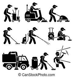 przemysłowy, cliparts, pracownik, czyszczenie