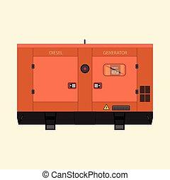 przemysłowy, diesel, generator