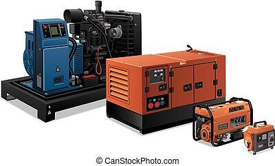 przemysłowy, generatory, moc