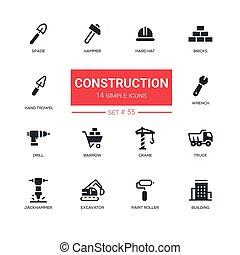 przemysłowy, komplet, ikony, pojęcie, -, zbudowanie, projektować, kreska