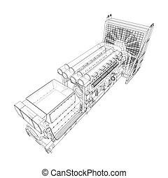 przemysłowy, wektor, wielki, diesel, generator.