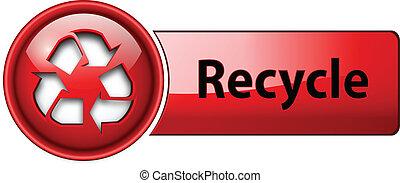 przerabianie surowców wtórnych, button., ikona