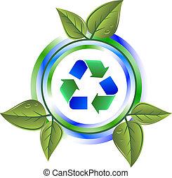 przerabianie surowców wtórnych, liście, zielony, ikona