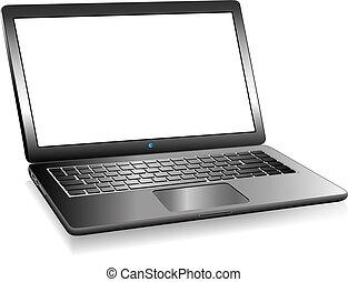 przestrzeń, laptop pc komputer, wiadomość, twój, 3d