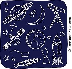 przestrzeń, niebo, -, obiekty, noc, astronomia