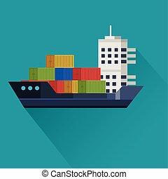 przewóz, ładunek, tło, błękitny, statek