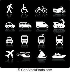 przewóz, elementy, projektować, ikony