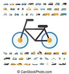 przewóz, ikona, komplet, pojazd