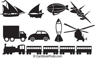 przewóz, ikony, przeciw, czarne tło, biały