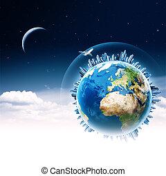 przewóz, technologia, abstrakcyjny, globalny, tła, communications.
