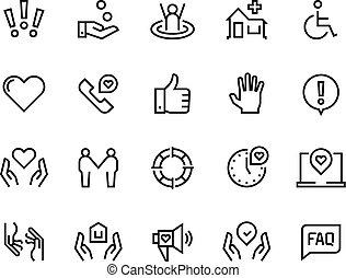 przewodnik, komplet, pomoc, poparcie rodziny, faq, podręcznik, życie, icons., zdrowie, współposiadanie, troska, kreska, troska, donate., miłosierdzie