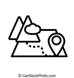 przewodnik, szpilka, styl, góra, mapa, kreska, papier, ikona