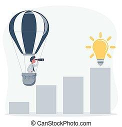 przez, biznesmen, handlowy, nowy, muchy, powietrze, handheld, opportunities., gorący, spojrzenia, człowiek, horyzont, telescope., balloon, rewiduje