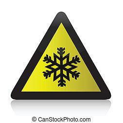 przeziębienie, ostrzeżenie, trójkątny, znak