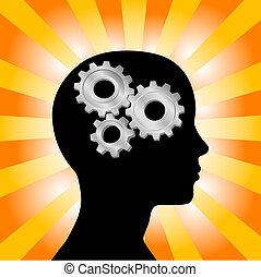 przybory, kobieta myśli, głowa, pomarańcza, profil, żółty, promienie