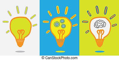 przybory, lampa, postęp, idea