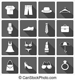 przybory, odzież, komplet, obuwie, ikony