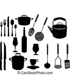 przybory, rozmaity, kuchnia
