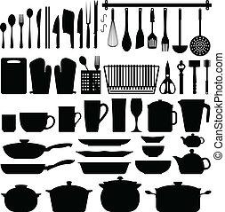 przybory, wektor, sylwetka, kuchnia