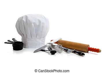 przybory, wypiek, kapelusz, kuchmistrz