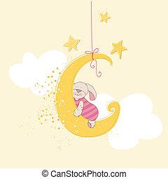 przybycie, albo, -, spanie, przelotny deszcz, wektor, niemowlę, królik, karta