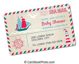 przybycie, kartka pocztowa, -, przelotny deszcz, temat, wektor, morze, morski, niemowlę, albo