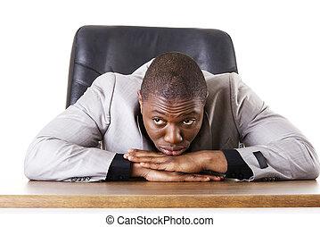 przygnębiony, biznesmen, smutny, albo, zmęczony
