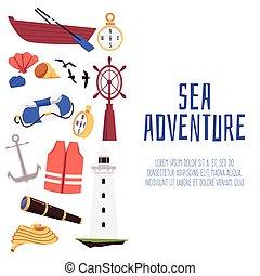 przygoda, płaski, tło, towarzyski, morze, chorągiew, wektor, illustration., media