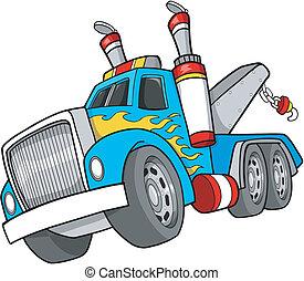 przyholujcie samochód, wektor, ilustracja