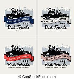 przyjaźń, przyjaciele, logo, chorągiew, albo, najlepszy, design.