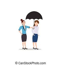 przyjaciel, handlowy, white., odizolowany, litera, inny., kobieta, płaski, ilustracja, rysunek, projektować, porcja, umbrella., pojęcie, każdy, udzielanie