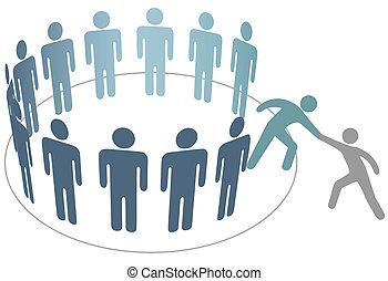 przyjaciel, ludzie, wstąpić, pomoce, członki, grupa, towarzystwo, pomocnik