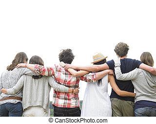 przyjaciele, grupa, tylny, tulenie, prospekt