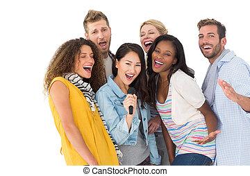 przyjaciele, młody, posiadanie, karaoke, grupa, zabawa, szczęśliwy