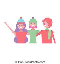 przyjaciele, trzy, tulenie, kobiety