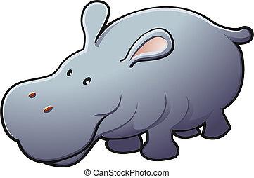 przyjacielski, ilustracja, sprytny, hipopotam, wektor