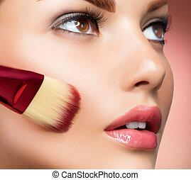 przykładająca charakteryzacja, baza, doskonały, cosmetic., make-up.