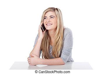 przypadkowy, cellphone, teenage dziewczyna, portret