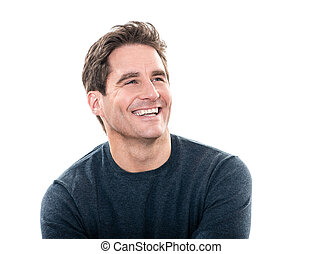 przystojny, śmiech, człowiek, portret, dojrzały