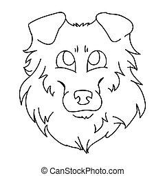 psiarnia, pieszczoch, ilustracja, clipart., genealogia, sprytny, odizolowany, owczarek szkocki, monochromia, szorstki, wektor, fluffy., mascot., lineart., rysunek, eps, krajowy, salon, pies, szczeniak, psi, purebred, twarz, sheepdog, 10.