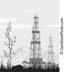 psoty, na, nafta, range., góra