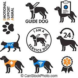 psy, emblematy, służba, emocjonalny, zwierzęta, poparcie