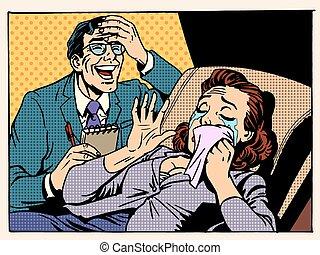 psycholog, kobieta, śmiech, płacz