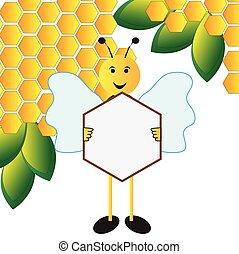 pszczoła, deska, dzierżawa, znak