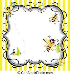 pszczoła, niemowlę, partia, sprytny, przelotny deszcz