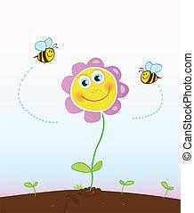 pszczoły, kwiat