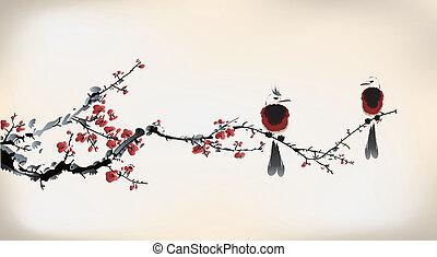 ptak, malarstwo