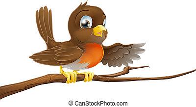 ptak, rudzik, spoinowanie, gałąź